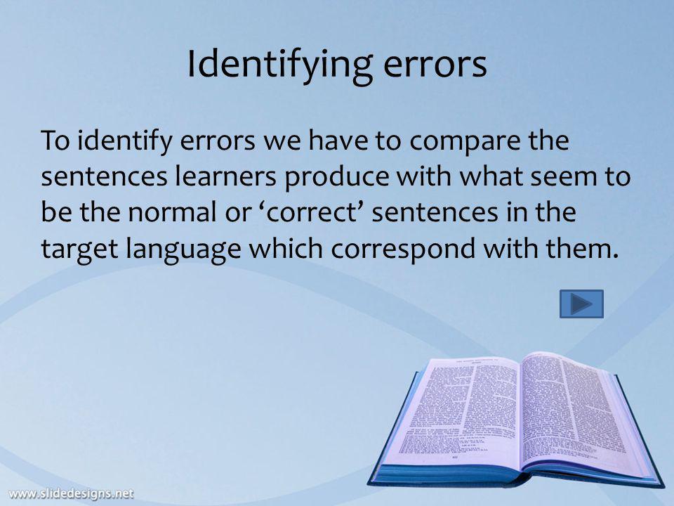 Identifying errors