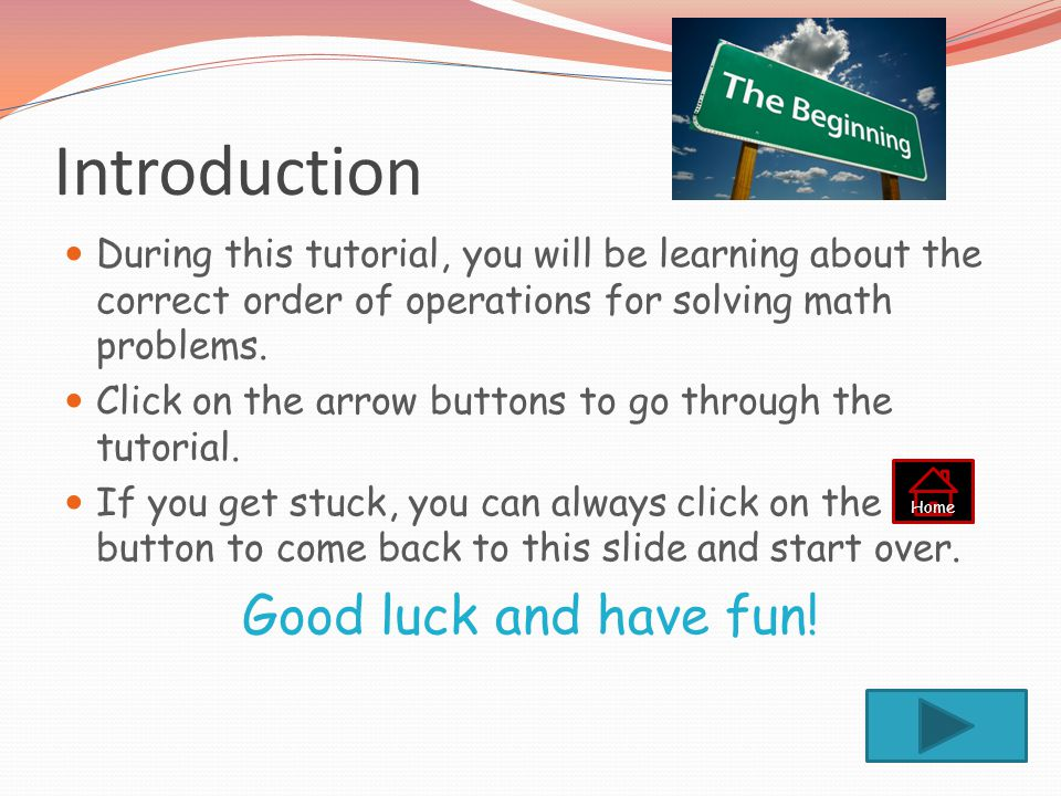 Introduction Good luck and have fun!