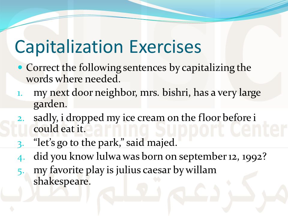 Capitalization Exercises