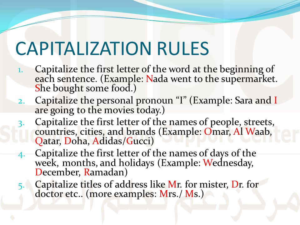CAPITALIZATION RULES