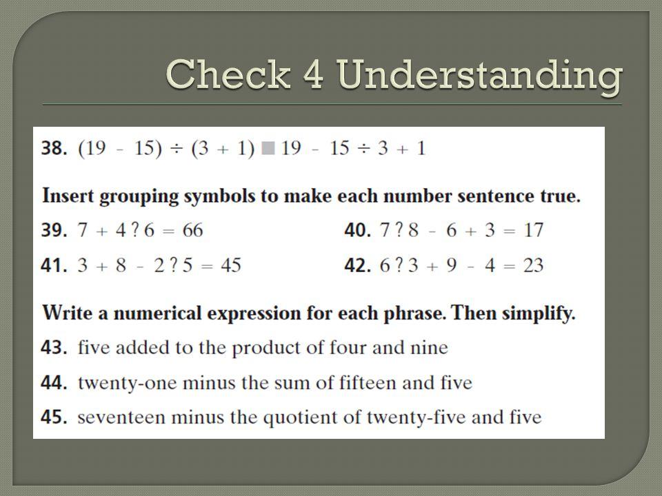 Check 4 Understanding