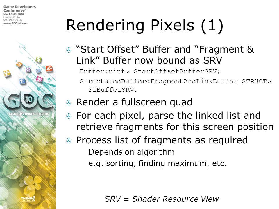 Rendering Pixels (1) Start Offset Buffer and Fragment & Link Buffer now bound as SRV. Buffer<uint> StartOffsetBufferSRV;