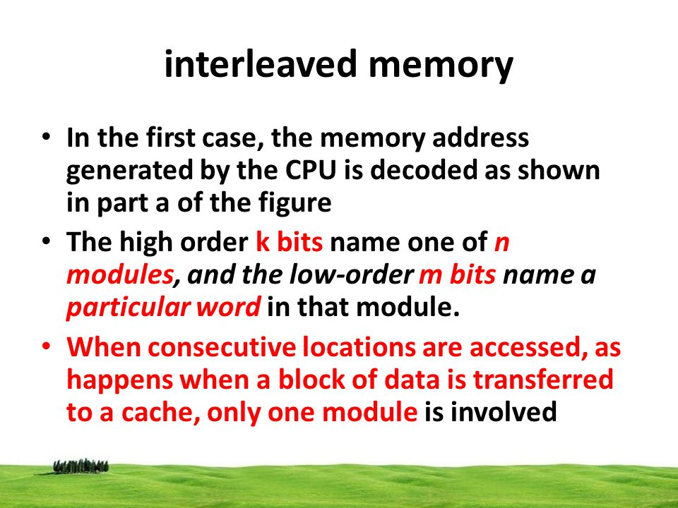 interleaved memory In the first case, the memory address generated by the CPU is decoded as shown in part a of the figure.