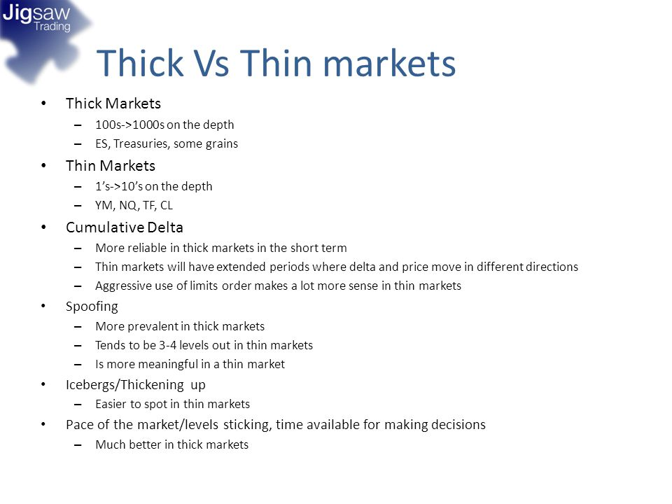 Thick Vs Thin markets Thick Markets Thin Markets Cumulative Delta