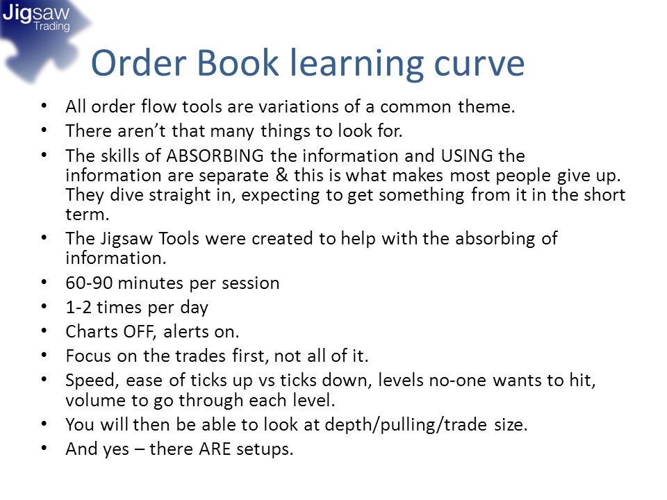 Order Book learning curve