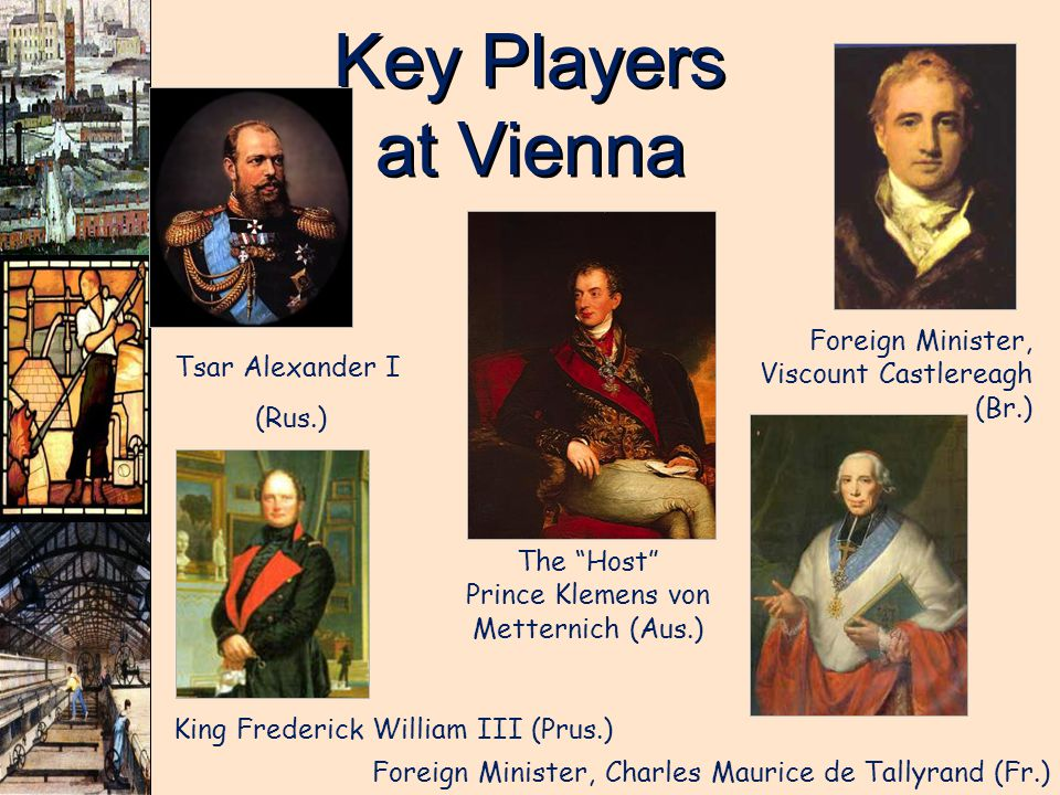 Key Players at Vienna Foreign Minister, Viscount Castlereagh (Br.)