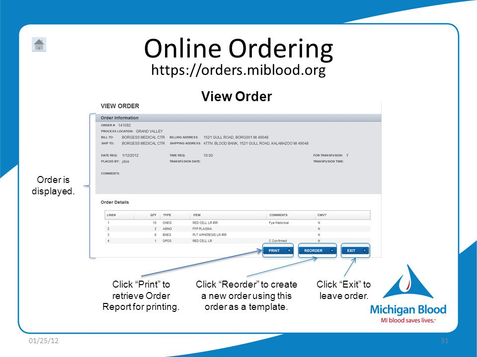 View Order Order is displayed.