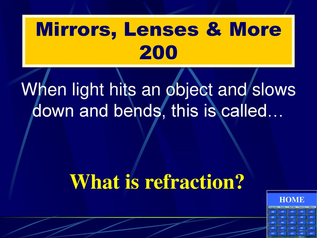 When light hits an object and slows down and bends, this is called…