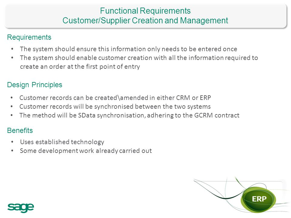Functional Requirements Customer/Supplier Creation and Management
