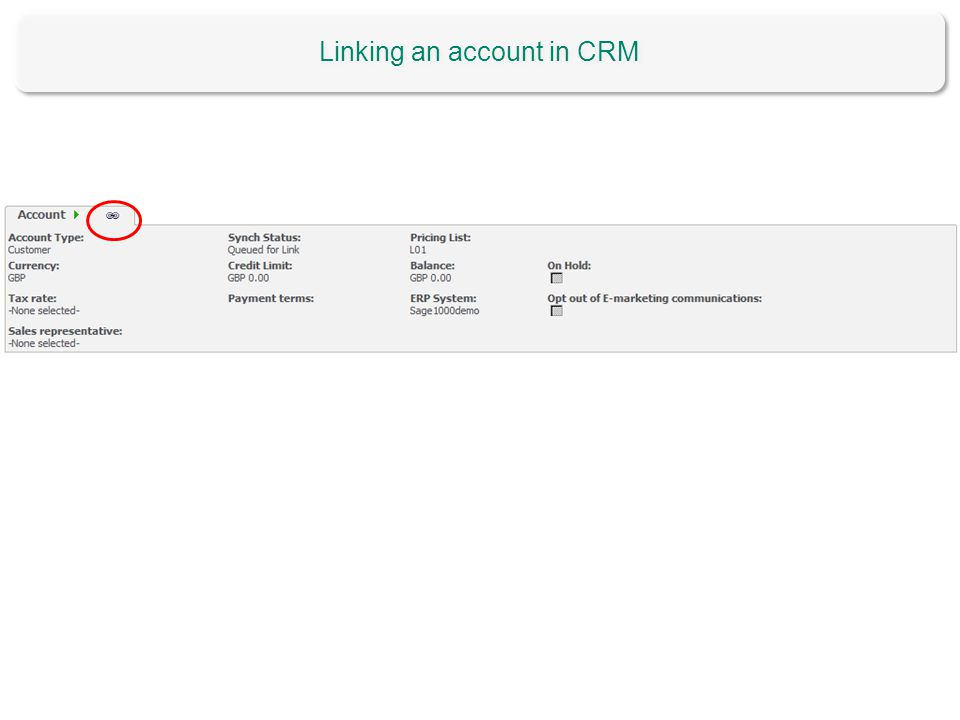 Linking an account in CRM