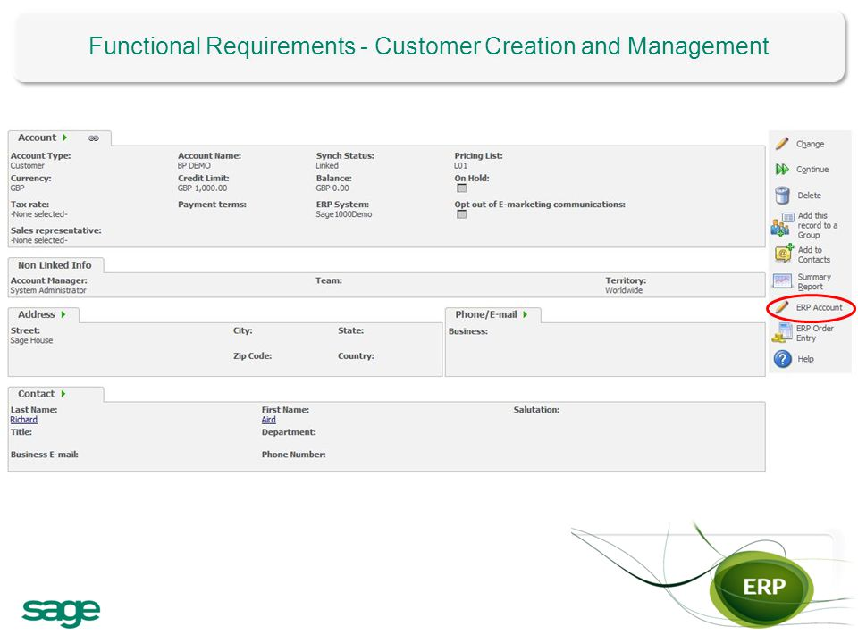 Functional Requirements - Customer Creation and Management