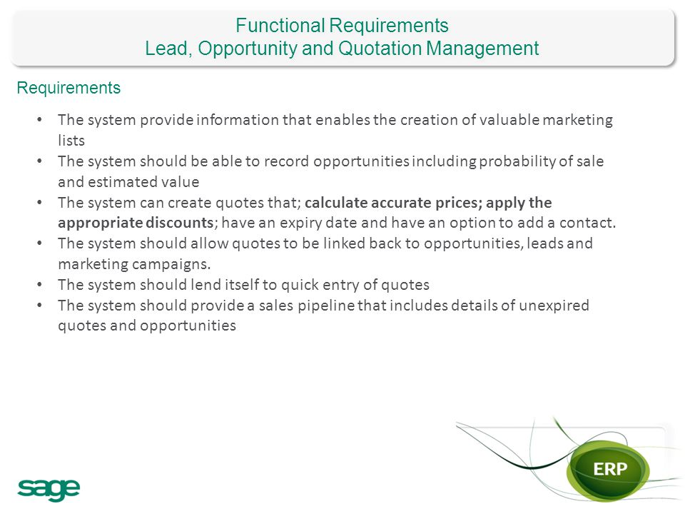 Functional Requirements Lead, Opportunity and Quotation Management