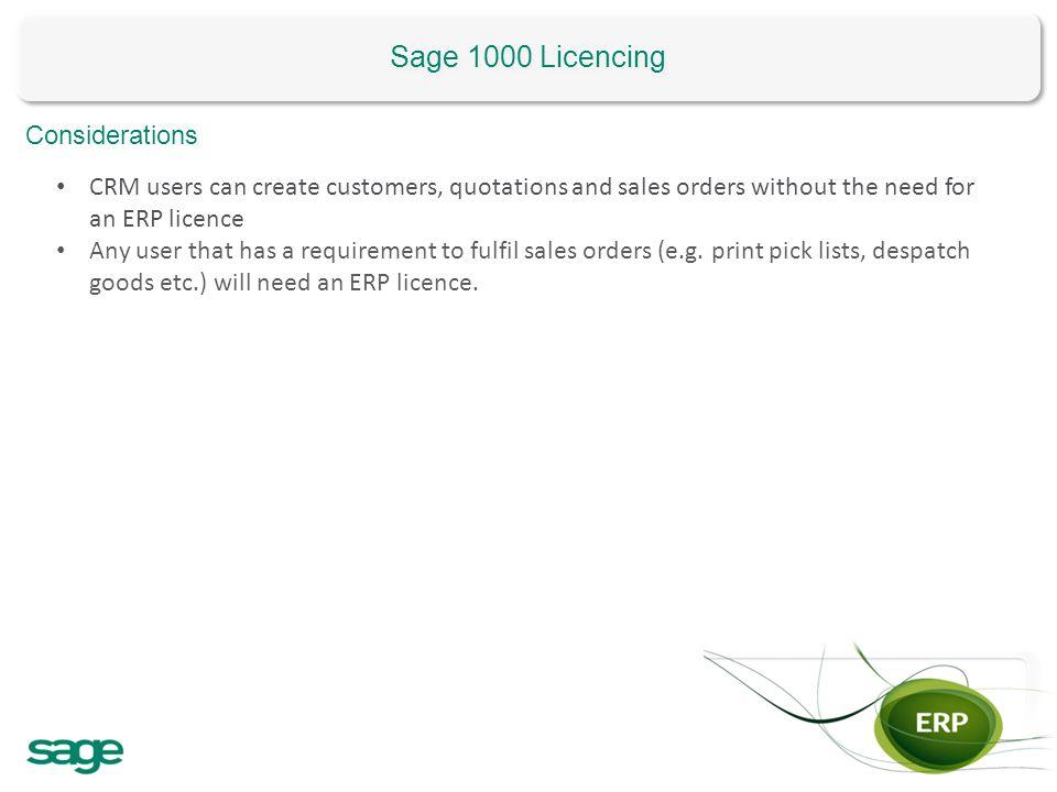 Sage 1000 Licencing Considerations