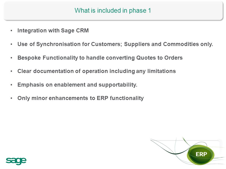 What is included in phase 1