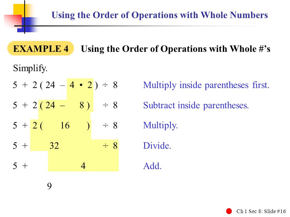 Using the Order of Operations with Whole Numbers