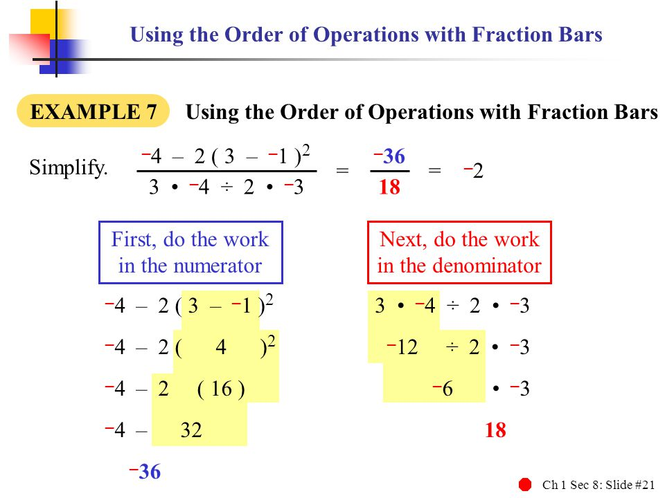 Using the Order of Operations with Fraction Bars