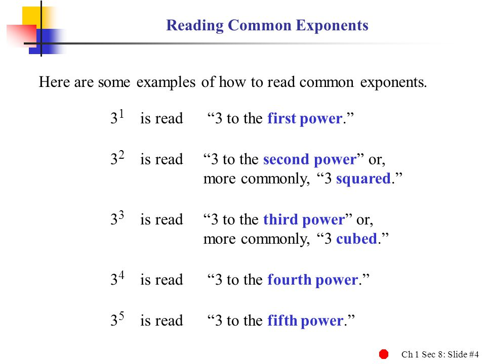 Reading Common Exponents