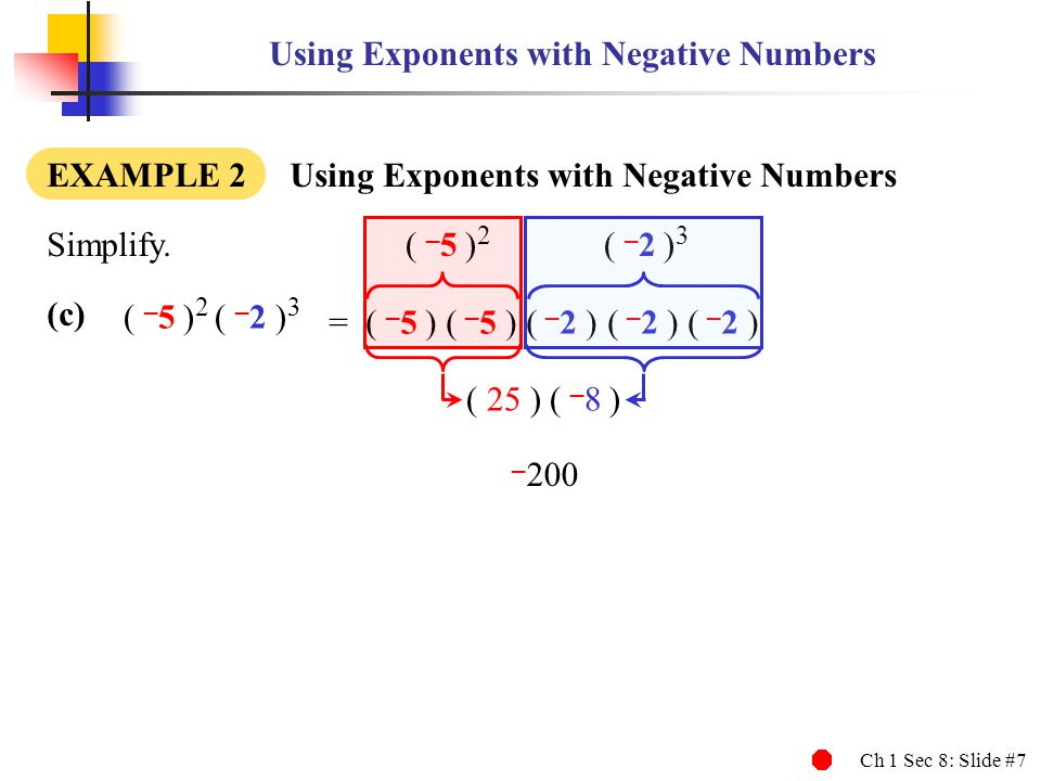 Using Exponents with Negative Numbers