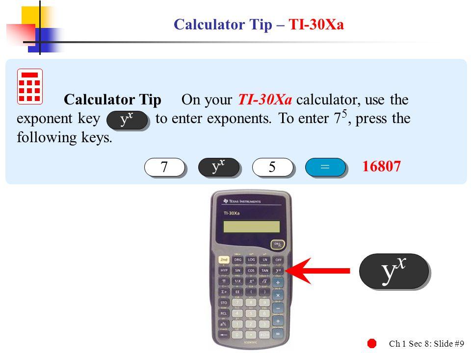 yx Calculator Tip – TI-30Xa
