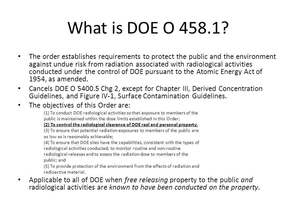 What is DOE O 458.1