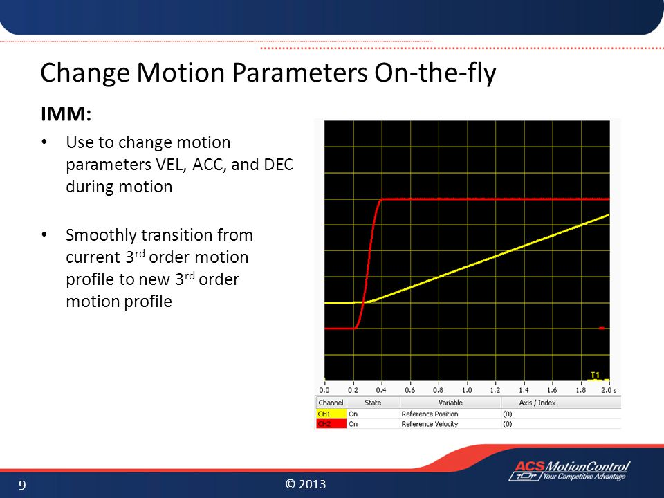 Change Motion Parameters On-the-fly