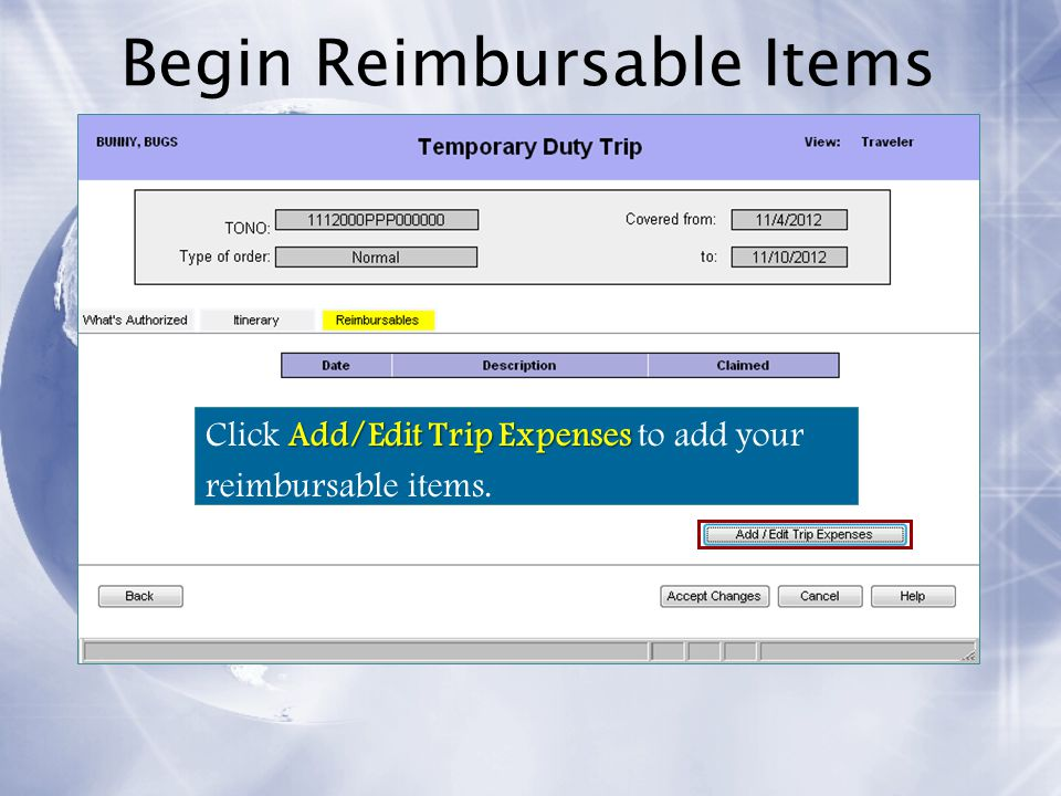 Begin Reimbursable Items