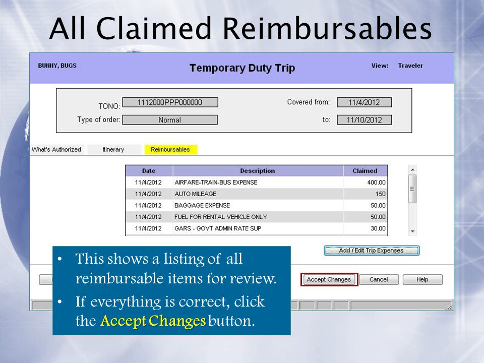 All Claimed Reimbursables