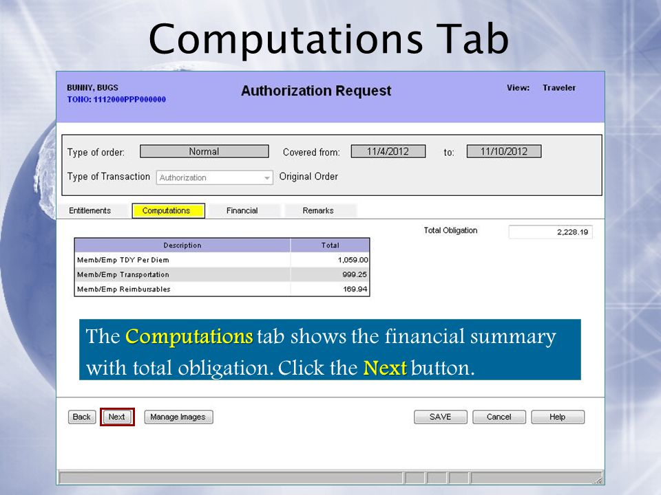 Computations Tab The Computations tab shows the financial summary