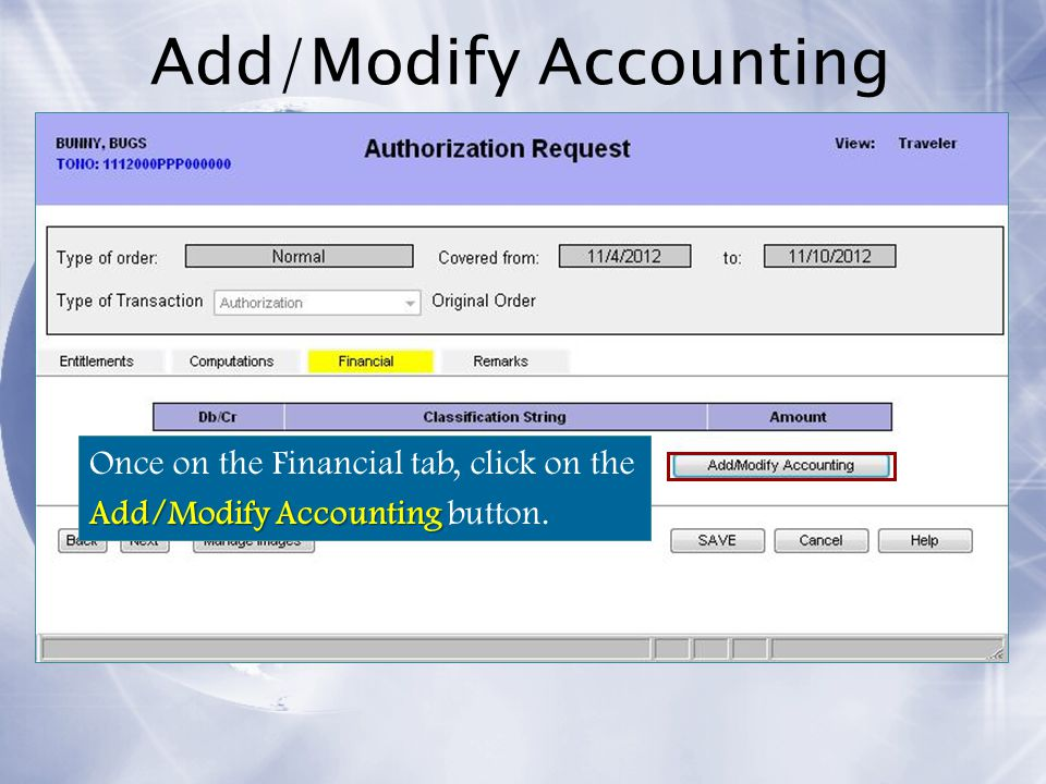 Add/Modify Accounting