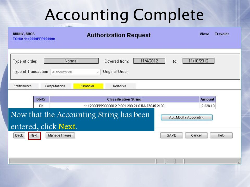 Accounting Complete Now that the Accounting String has been