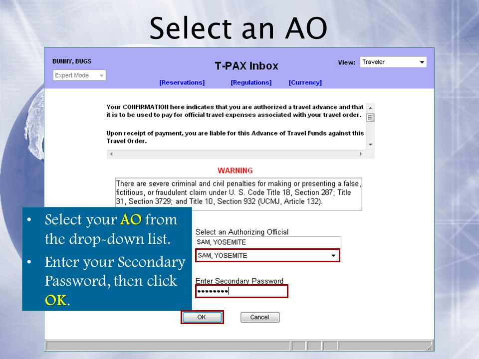 Select an AO Select your AO from the drop-down list.