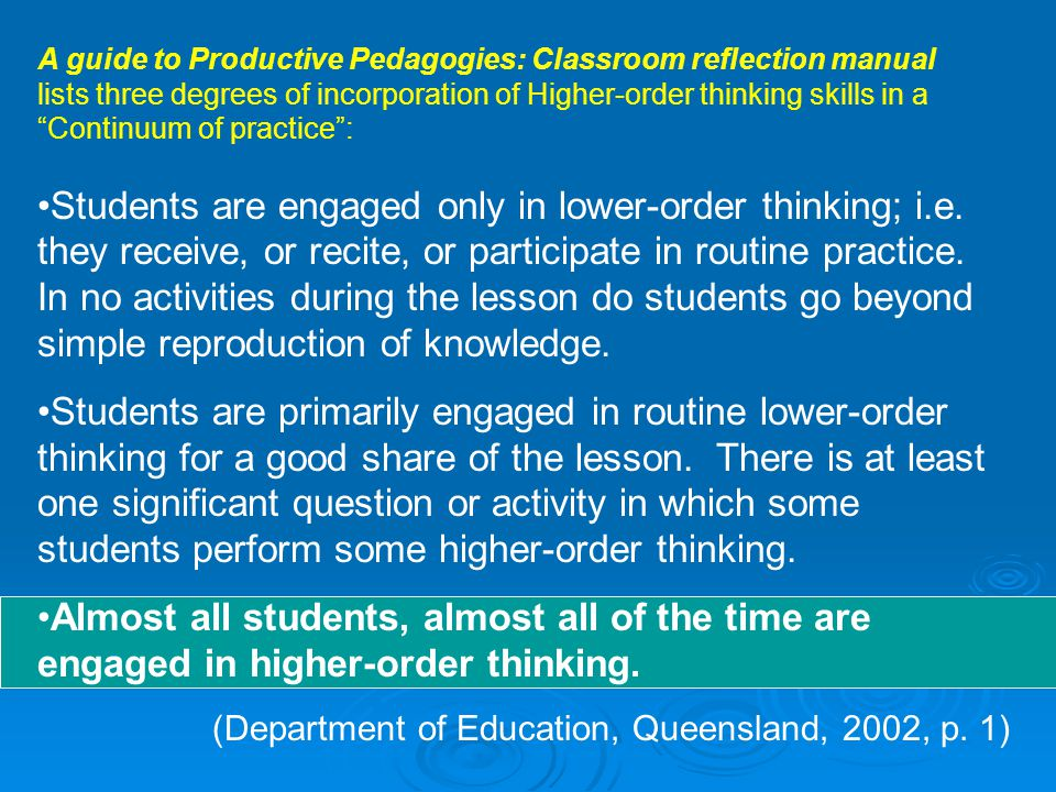 A guide to Productive Pedagogies: Classroom reflection manual lists three degrees of incorporation of Higher-order thinking skills in a Continuum of practice :