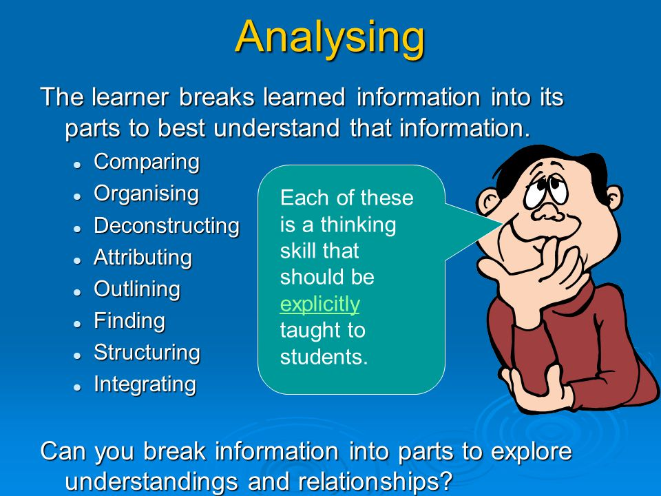 Analysing The learner breaks learned information into its parts to best understand that information.