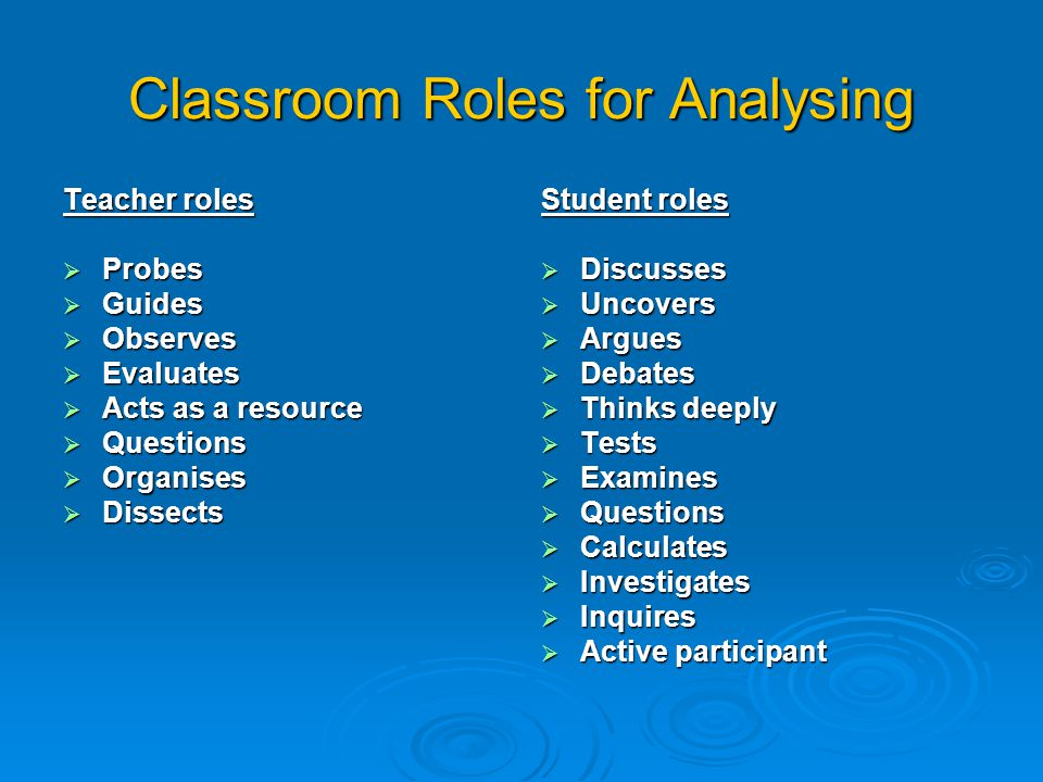 Classroom Roles for Analysing