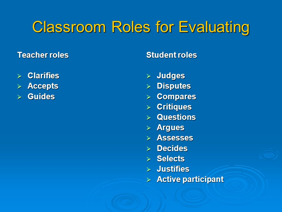 Classroom Roles for Evaluating