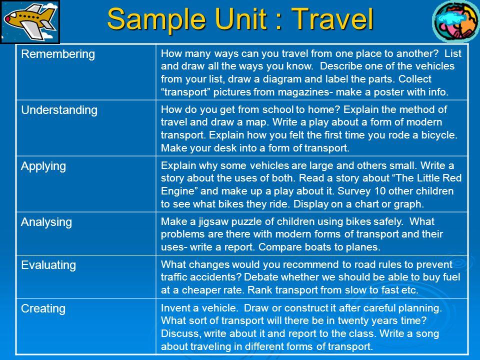 Sample Unit : Travel Remembering Understanding Applying Analysing