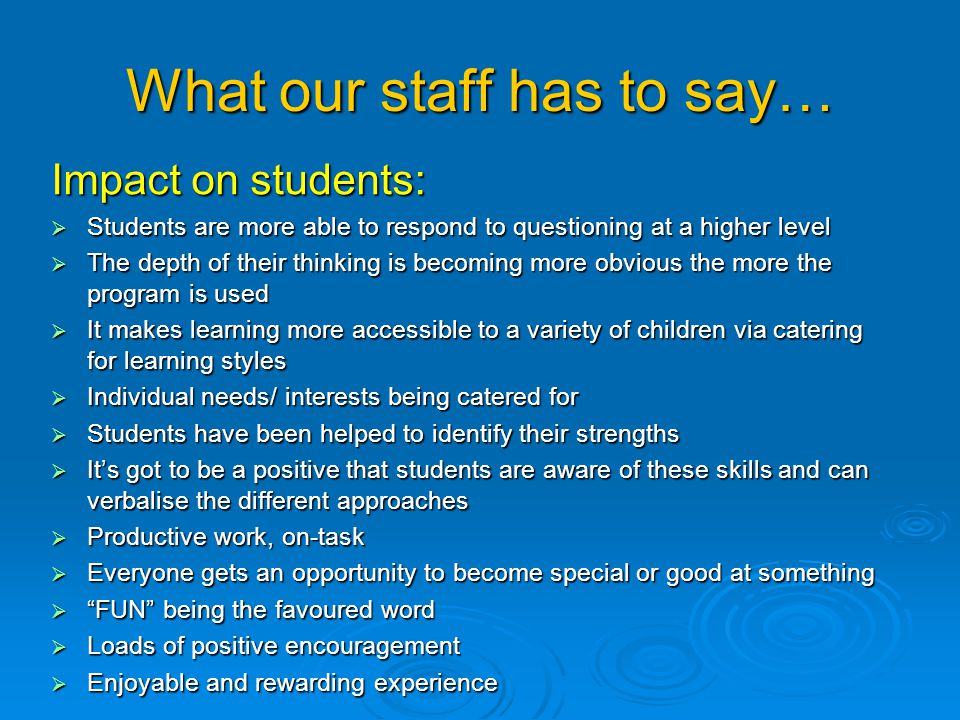 What our staff has to say…