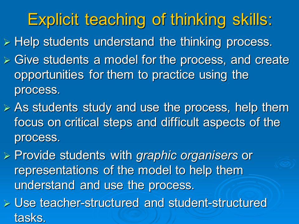 Explicit teaching of thinking skills: