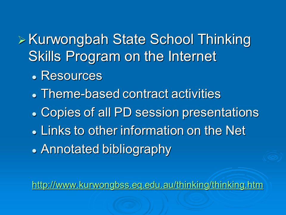 Kurwongbah State School Thinking Skills Program on the Internet