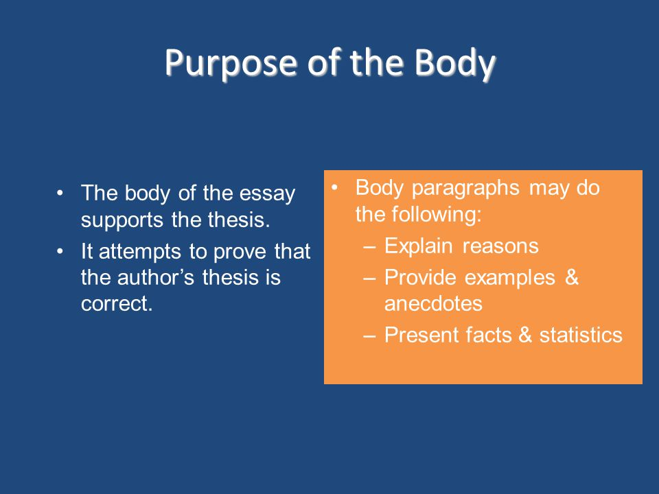 Purpose of the Body Body paragraphs may do the following:
