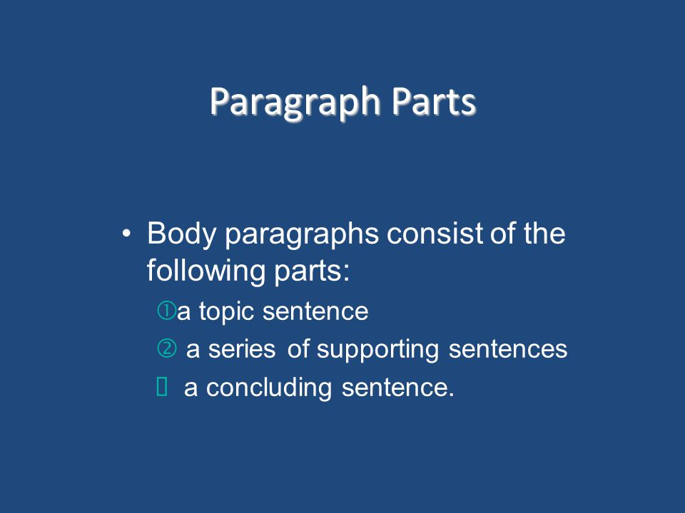 Paragraph Parts Body paragraphs consist of the following parts: