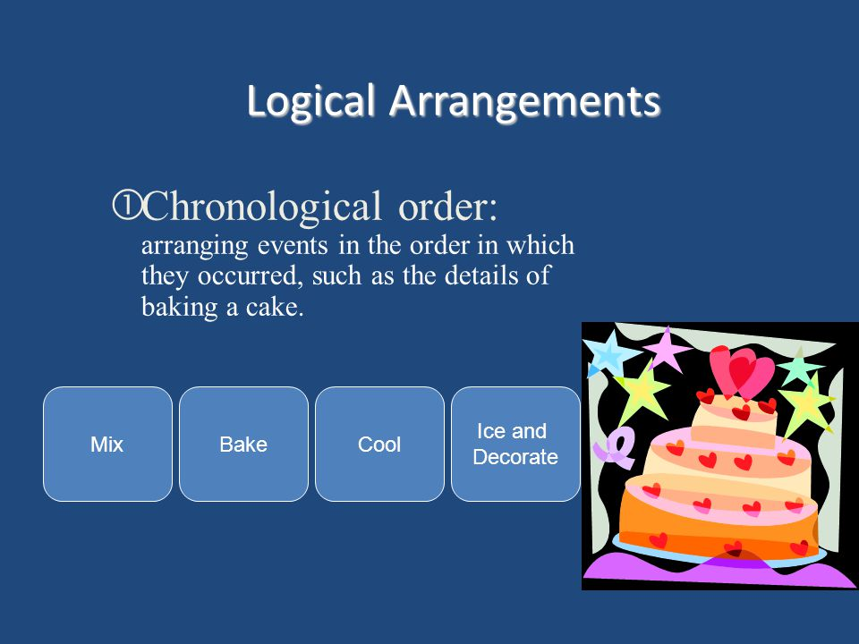 Logical Arrangements Chronological order: arranging events in the order in which they occurred, such as the details of baking a cake.