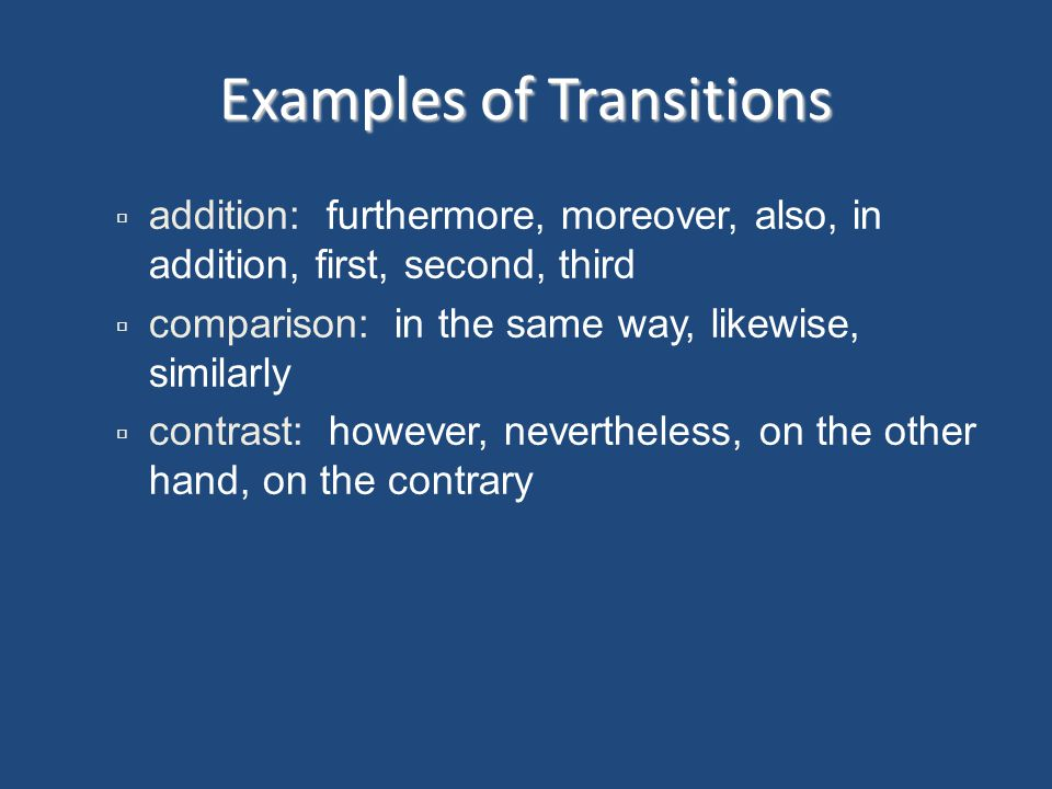 Examples of Transitions