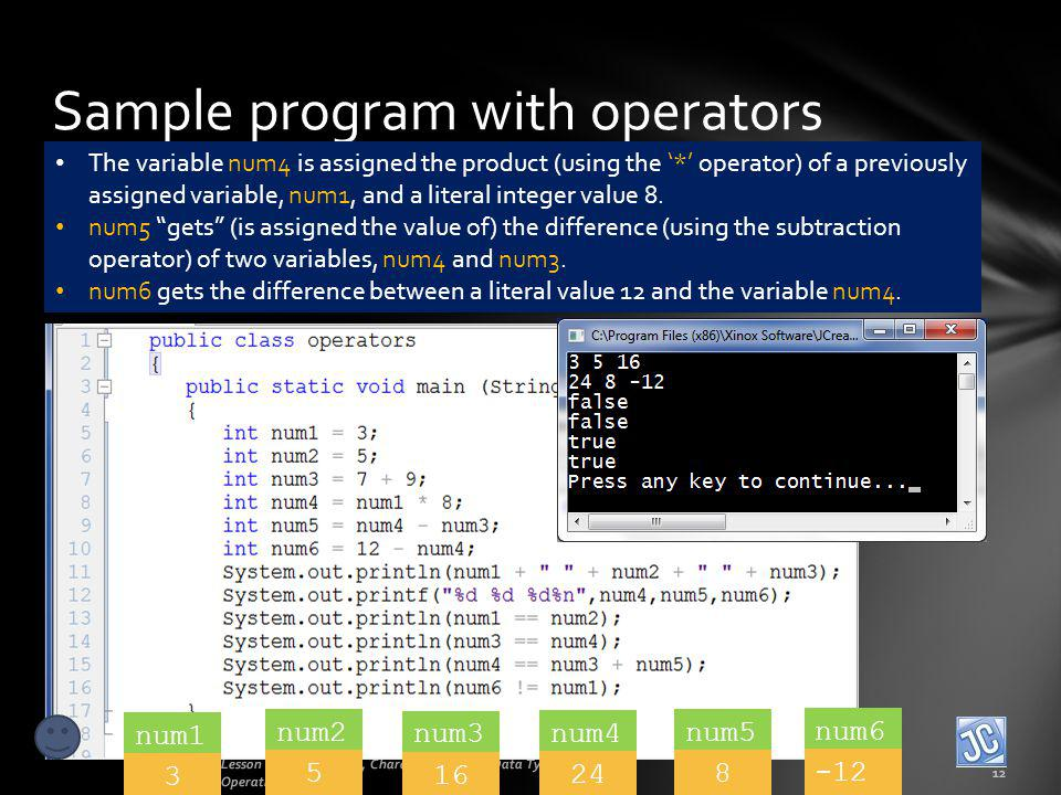 Sample program with operators