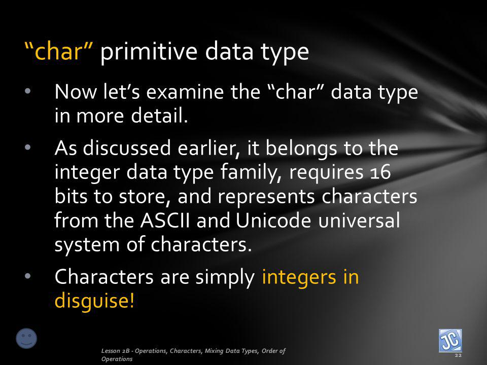 char primitive data type