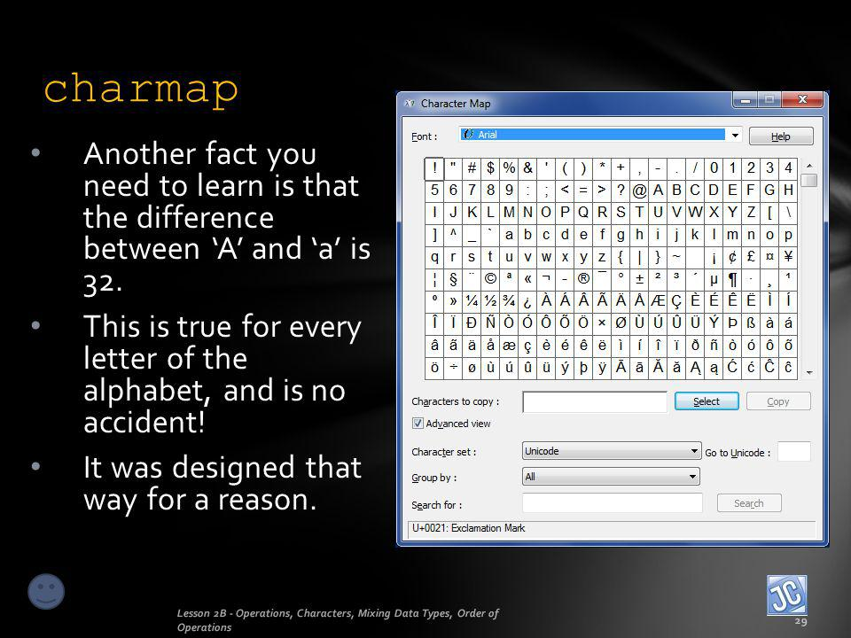 charmap Another fact you need to learn is that the difference between 'A' and 'a' is 32.