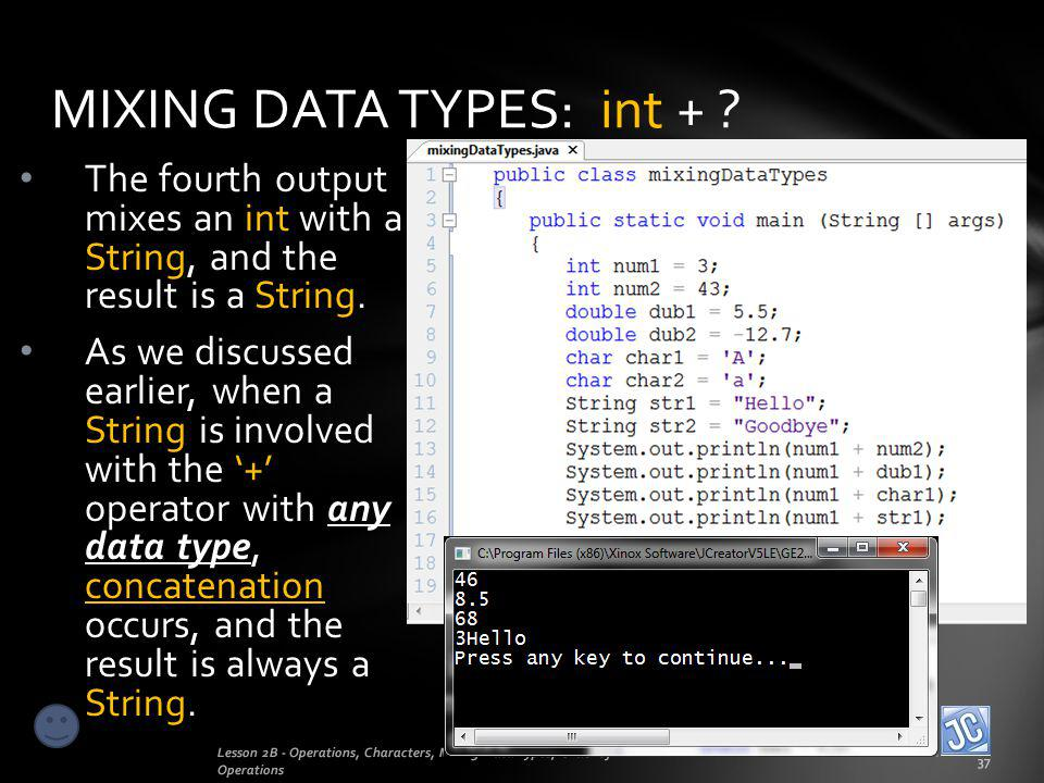MIXING DATA TYPES: int +