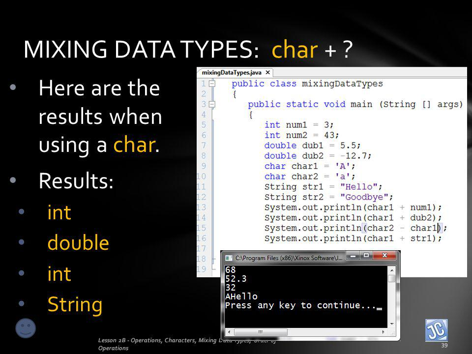 MIXING DATA TYPES: char +