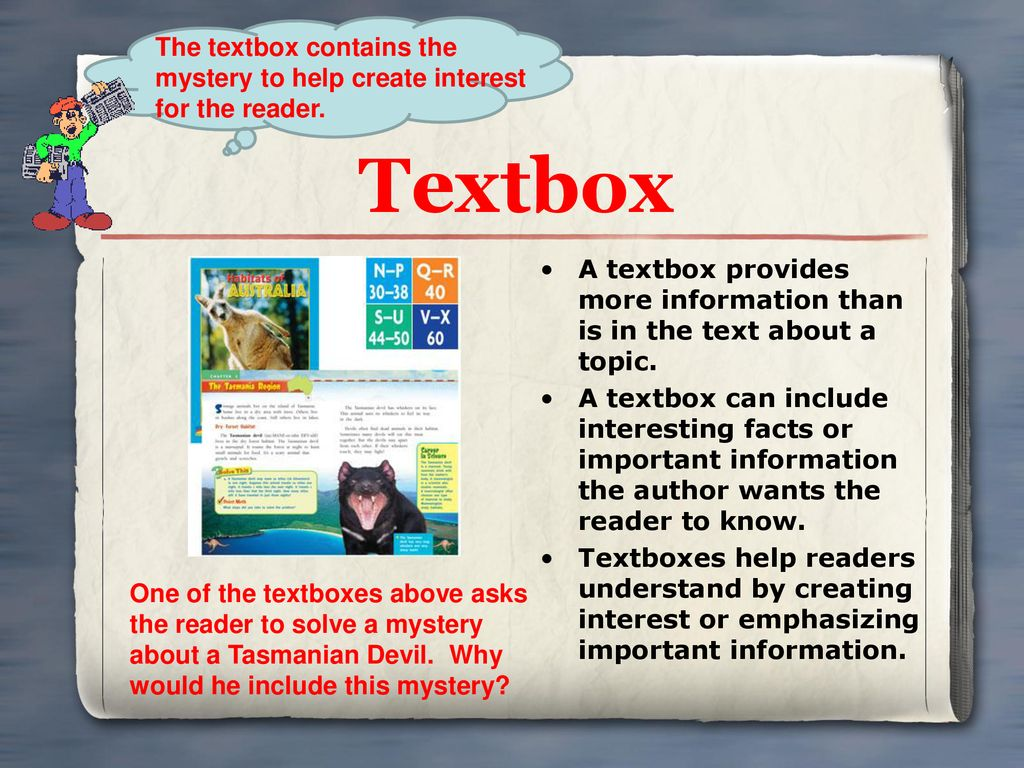 The textbox contains the mystery to help create interest for the reader.