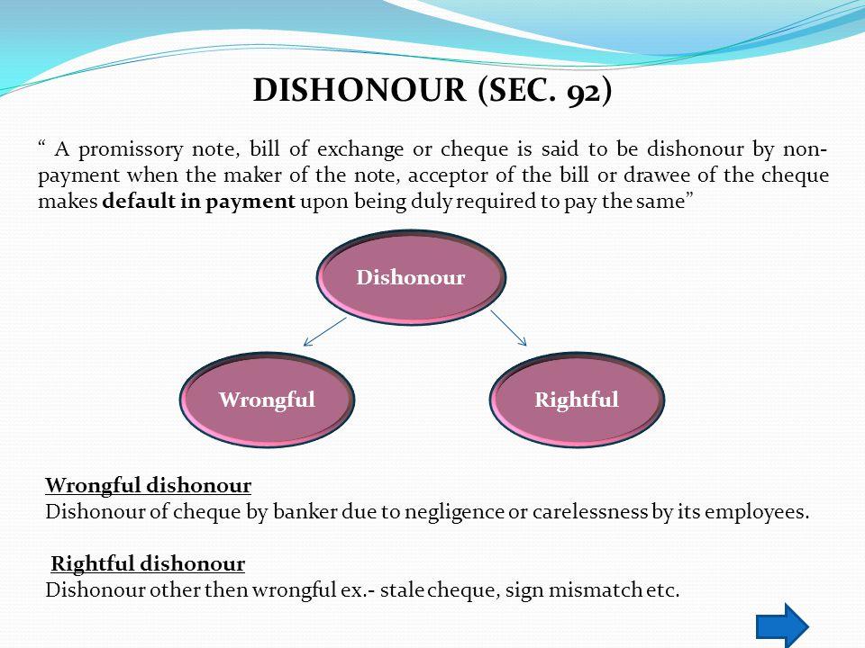DISHONOUR (SEC. 92)